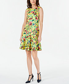Calvin Klein Floral-Print Flared Dress