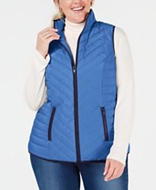 4fbadca92cc Charter Club Plus Size Contrast-Trim Vest