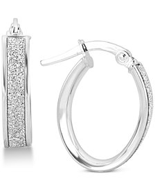 Glitter Hoop Earrings in 14k White Gold