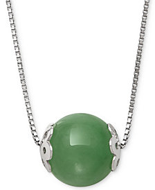 "Dyed Jade (10mm) Bead 18"" Pendant Necklace in Sterling Silver"