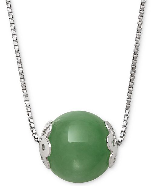 """Macy's Dyed Jade (10mm) Bead 18"""" Pendant Necklace in Sterling Silver"""