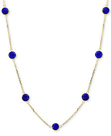 "EFFY® Jade (6mm) Station Collar Necklace in 14k Gold, 16"" + 2"" extender (Also in Onyx & Lapis Lazuli)"