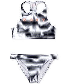 Roxy Big Girls Two-Piece Striped Crop-Top Bikini