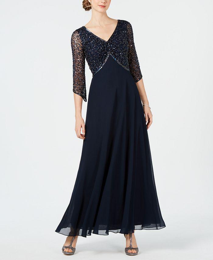 J Kara - Embellished 3/4-Sleeve Gown