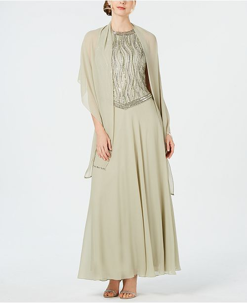 J Kara Sequined Gown & Shawl
