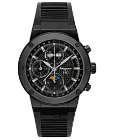 Men's Swiss Automatic Chronograph F-80 Black Rubber Strap Watch 44mm