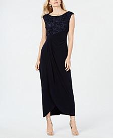 Petite Soutache Faux-Wrap Gown