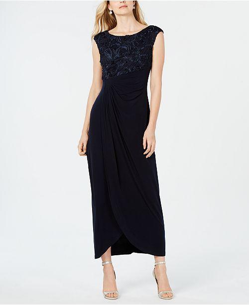 Connected Soutache Faux-Wrap Gown