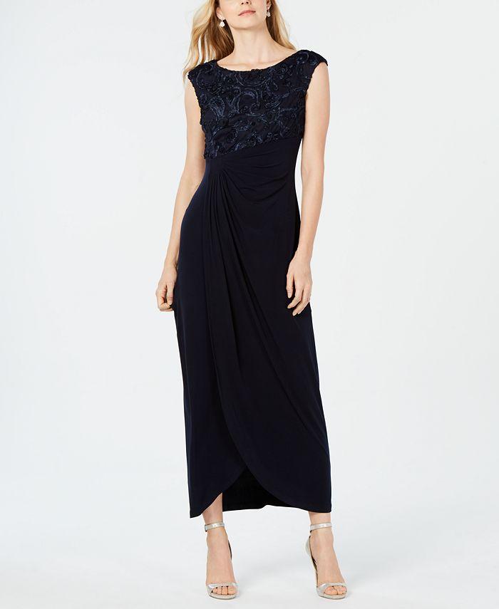 Connected - Petite Soutache Faux-Wrap Gown