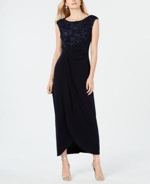 Soutache Faux-Wrap Gown