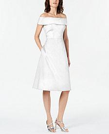 Calvin Klein Off-The-Shoulder Sateen Dress
