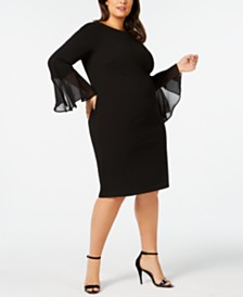 Calvin Klein Plus Size Illusion Bell-Sleeve Dress