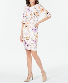 Calvin Klein Printed Ruffled-Sleeve Sheath Dress