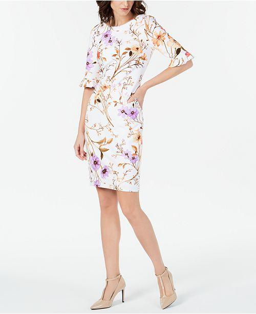 e07d5ba6 Calvin Klein Printed Ruffled-Sleeve Sheath Dress & Reviews - Dresses ...