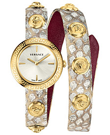 Versace Women's Swiss Medusa Stud Icon Gray Calf Leather Wrap Strap Watch 28mm