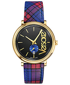 Versace Men's Swiss V-Circle Clans Edition Blue & Red Plaid Calf Leather Strap Watch 42mm