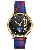 d1f0b9660987 Versace Men s Swiss V-Circle Clans Edition Blue   Red Plaid Calf Leather  Strap Watch