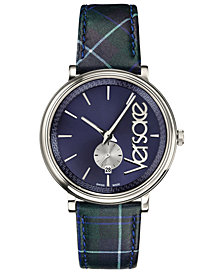Versace Men's Swiss V-Circle Clans Edition Blue & Green Plaid Calf Leather Strap Watch 42mm