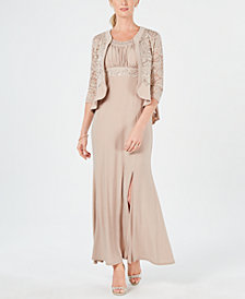 R & M Richards Petite Lace Jacket & Gown