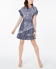 MICHAEL Michael Kors Mixed-Print Ruffle A-Line Dress, In Regular & Petite Sizes
