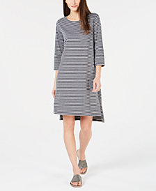 Eileen Fisher Organic Cotton Striped High-Low Dress, Created for Macy's