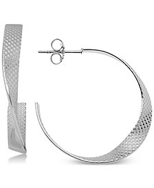 Essentials Textured Twist Hoop Earrings in Fine Silver-Plate