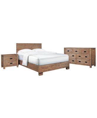 Champagne Bedroom Furniture, Queen 3 Piece Set (Bed, Dresser And Nightstand)