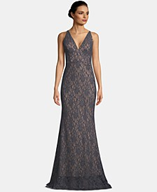 V-Neck Glitter Lace Gown