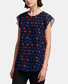 DKNY Short-Sleeve Printed Top