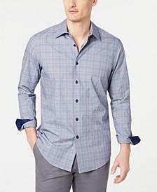Men's Stretch Dobby Plaid Shirt, Created for Macy's