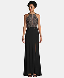 Betsy & Adam Beaded Slit Halter Gown