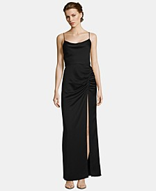 Satin Ruched Slit Gown