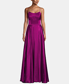 Betsy & Adam Petite Empire-Waist Satin Gown
