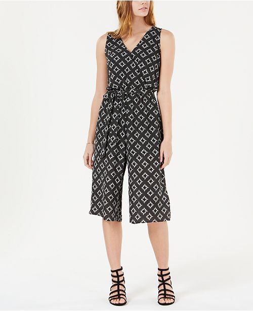 One Clothing Juniors' Cropped Floral-Print Jumpsuit