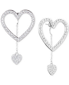 Givenchy Silver-Tone Pavé Heart Front-and-Back Earrings