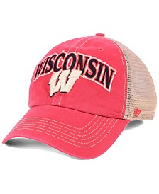 47 Brand Wisconsin Badgers Tuscaloosa Mesh CLEAN UP Snapback Cap.   b1fa660a8636
