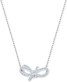 "Silver-Tone Pavé Bow 14-4/5"" Pendant Necklace"