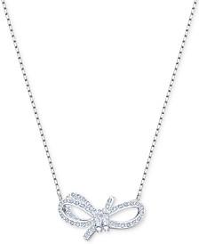 "Swarovski Silver-Tone Pavé Bow 14-4/5"" Pendant Necklace"