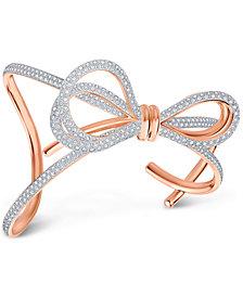 Swarovski Two-Tone Pavé Bow Cuff Bracelet
