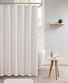 "Urban Habitat Brooklyn 70"" x 72"" Cotton Pom Pom Shower Curtain"