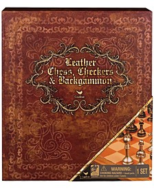 Leather Chess, Checkers, and Backgammon - Deluxe 3-Game Set