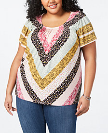 Style & Co Plus Size Printed Pleated Top, Created for Macy's
