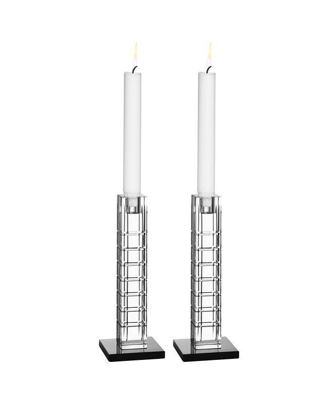 Orrefors Street Candleholder Pair