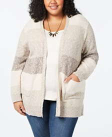 Style & Co Plus Size Striped Cardigan, Created for Macy's