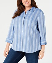 408420eee Karen Scott Plus Size Printed Cotton Button-Front Shirt, Created for Macy's