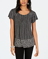 faa5d4fcb Style   Co Printed Pleated Scoop-Neck Top