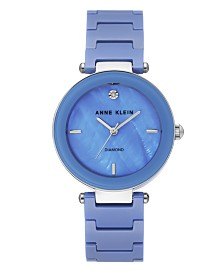 Anne Klein Women's Diamond-Accent Light Blue Ceramic Bracelet Watch 33mm