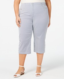 147c6358897eb Karen Scott Plus Size Striped Button-Hem Capri Pants