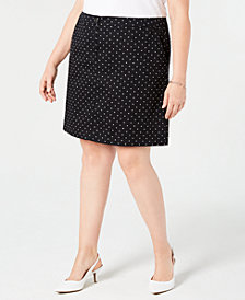 Karen Scott Plus Size Polka Dot Print Skort, Created for Macy's