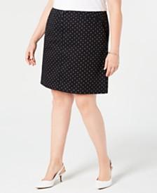 Karen Scott Plus Size Polka Dot Print Skort, Created for Macy's
